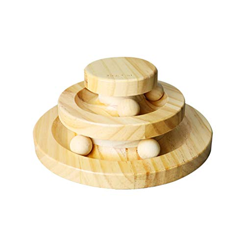 POPETPOP Interactive Cat Toys Two-Layer Wooden Turntable Smart Track Ball Rocking Roller Cat Toys Pet Kitten