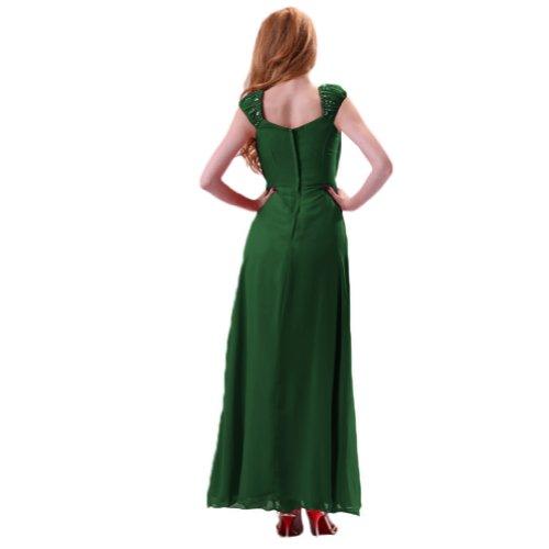 Chiffon scuro da in elegante una lunghezza sera Sunvary sera spalla abito Maxi intera Verde IwZxUOS