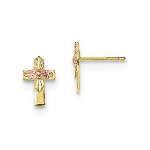 10k Tri Color Black Hills Gold Cross Religious Post Stud Earrings Fine Jewelry For Women Gift Set