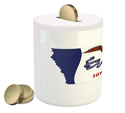 (Lunarable Iowa Piggy Bank, Hawkeye State Map and Flag Bald Eagle Carrying Streamer Beak, Printed Ceramic Coin Bank Money Box for Cash Saving, Cobalt Blue Vermilion and White)