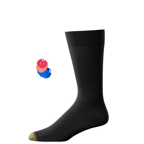 Gold Toe Men's Metropolitan Dress Sock, 6-Pack / 6 Free Sock Clips Included (Black)