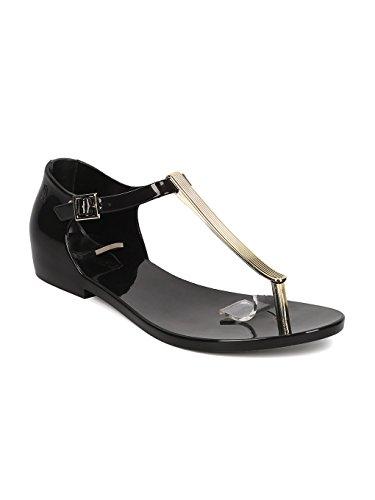 Melissa Honey Chrome Jelly Metallic T-Strap Flat Sandal GH17 - Black (Size: 5.0)