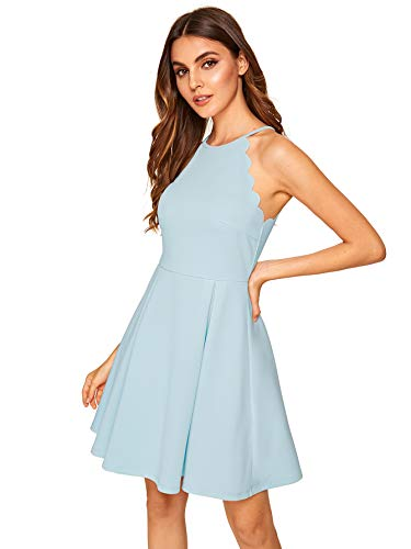 Romwe Women's Sweet Scallop Sleeveless Flared Swing Pleated A-line Skater Dress Light Blue M