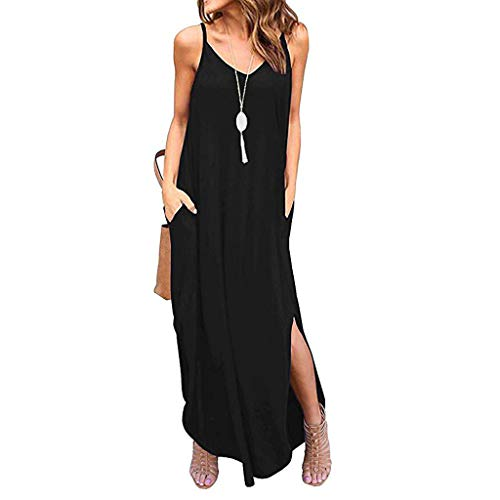 ZQISHMAO 2019 Women Boho Maxi Dress Sexy Backless Sleeveless Beach Party Flowy Summer Long Sun Dress Plus Size(Black-1, S) (Spring Dresses Sexy)