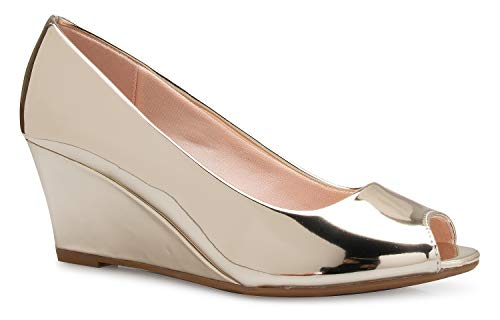 OLIVIA K Women's Adorable Low Peep Toe Wedge Heel Shoe - Comfortable, Adorable ()