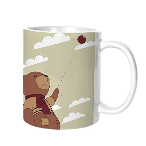 Cartoon Fashion Coffee Cup,A Melancholic Teddy Bear with Scarf Holding a Balloon Clouds in the Sky Clipart For office,One -