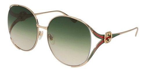 Gucci GG0225S 003 Gold / Green GG0225S Round Sunglasses Lens Category 2 Size - Women Gucci Sunglasses