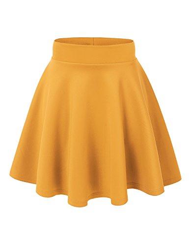 MBJ WB669 Womens Basic Versatile Strechy Flare Skater Skirt XL Yellow