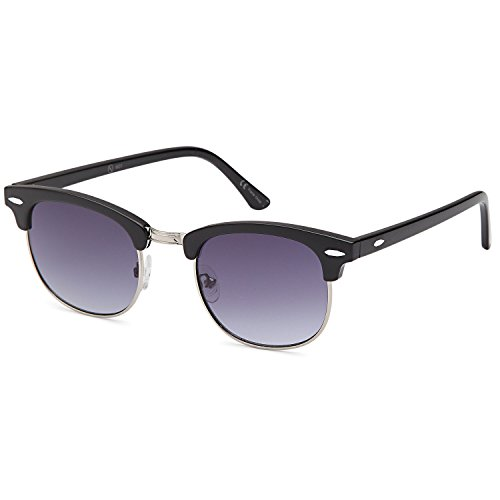 AV Vintage Retro Classic Half Frame Horn Rimmed Sunglasses with Polycarbonate Lenses,Gradient Grey Lens on Black Frame, (Classic Shell Silk)