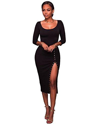 Black 2 Piece Dress (Women's 2 Piece Outfits Long Sleeve Scoop Neck Crop Top Midi Skirt Bodycon Pencil Party Club Midi Dress Black, XX-Large)