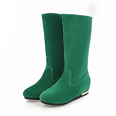 Chunky Boots amp; Gray Fall 4in Comfort Leatherette Evening 3 Heel Green Casual Spring Women's Black Dress Party Beige green 2 2in vnd0HqvO