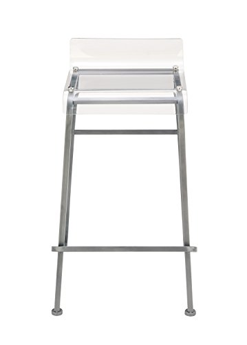 Benzara 54989 Attractive Metal Acrylic Bar - Stool White Bar Acrylic