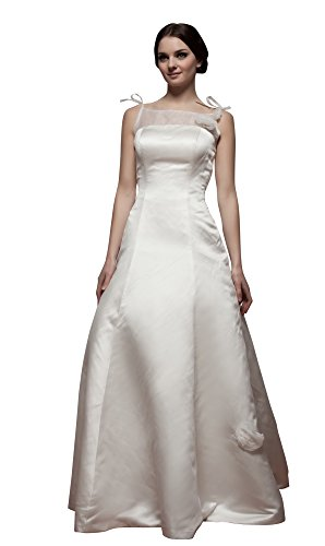 Vogue007 Womens Square Neck Satin Pongee Soft Mesh Wedding Dress, ColorCards, 16 by Unknown