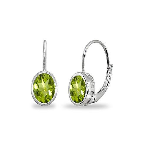 Sterling Silver Peridot 7x5mm Oval Bezel-Set Dainty Leverback Earrings for Women Teen Girls