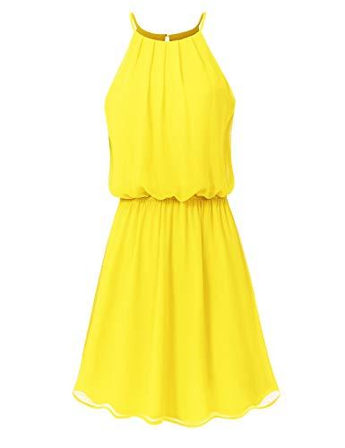 JSCEND Women's Sleeveless Double Layered Pleated Neck Cami Chiffon Mini Dress (S~3XL) A-Yellow 1XL