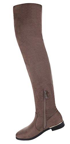 Damen Schuhe Stiefel Overknee Modell Nr.2 Hellbraun