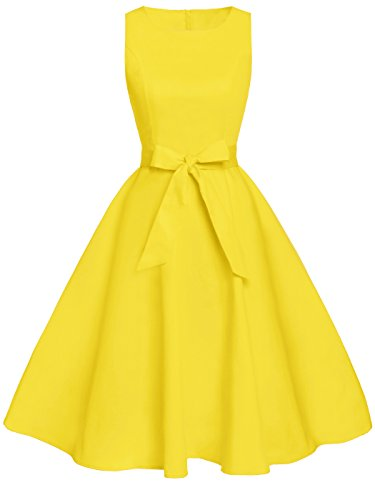 FAIRY COUPLE 50s Vintage Retro Floral Cocktail Swing Party Dress with Bow DRT017(S, Yellow)