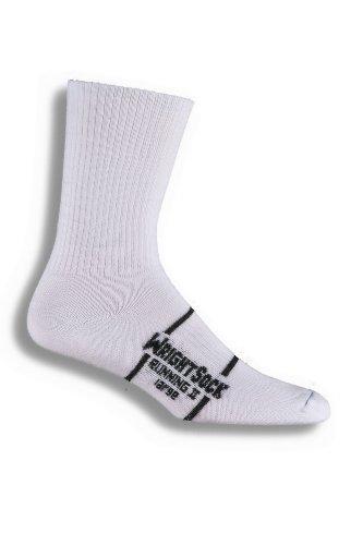 WrightSock Double Layer Anti Blister Running II Crew Socks -2 Pack, White, L