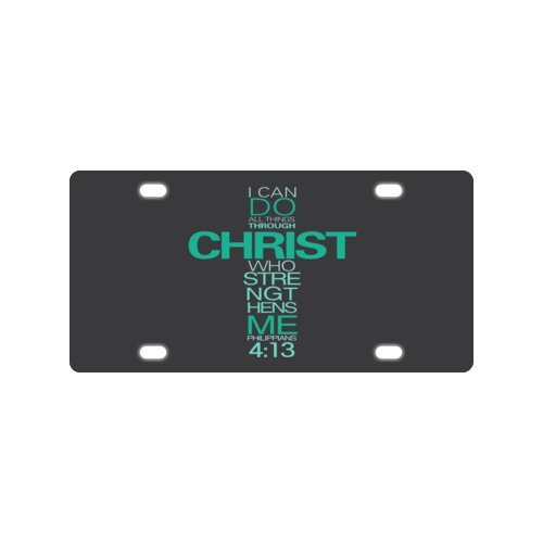 Car Automotive License Plate - I can do all things through Christ who strengthens me - Philippians 4:13 - Bible verse Metal License Plate for Car (New) - 12 X 6