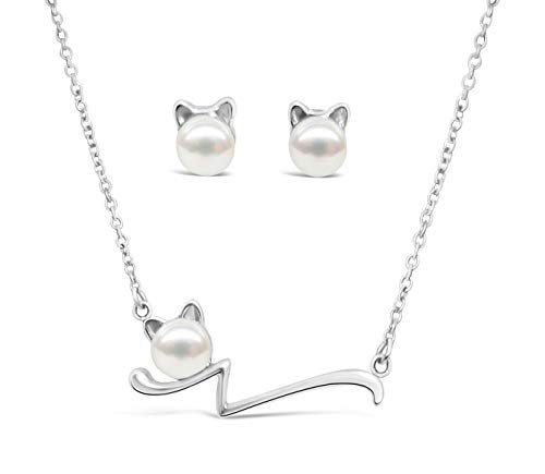Stainless Steel Kitty Earrings and Necklace Set with Faux Pearls - Super ()