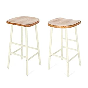 Christopher Knight Home Jean Bar Stools, Pine Veneer, Iron Frame, Naturally Stained Seats with White Base (Set of 2)