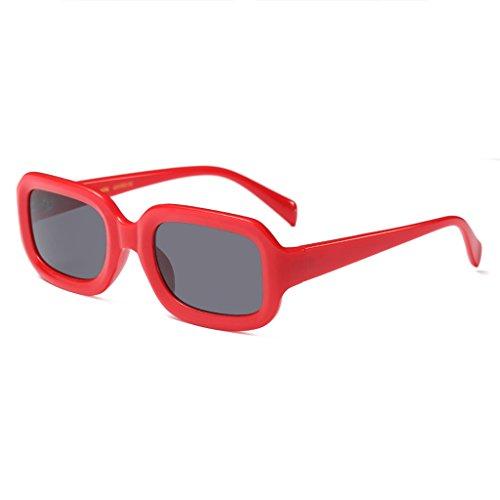 Neutre Hommes Rectangle Femmes Stéréo de Couleur Lunettes 50mm Red Cadre Vintage Lunettes Soleil Lentille de Retro Moolo Soleil Lunettes de UV400 tS0aaq