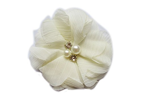 YYCRAFT Large 3 Sewn Winkle Chiffon Flower Rhinestone for Wedding Bride Craft Projects(Ivory,15pcs)