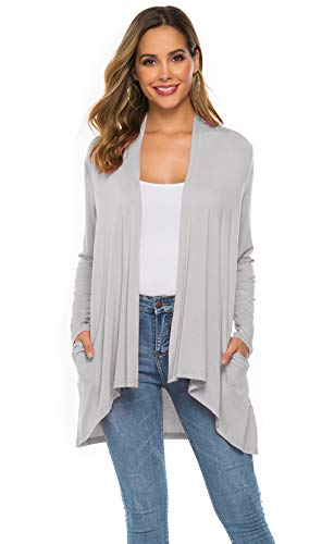 Women's Casual Long sleeve Open Front Lightweight Drape Cardigans With Pockets (US L(12-14), Light Gray)
