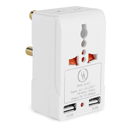 South Africa Adapter by Yubi Power TMA32AU Travel Adapter with 2 Universal Outlets and 2 USB 2.0 Ports - Built in Surge Protector and Light Indicator - Plug Type M works with South Africa and more