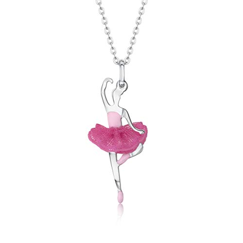 UNICORNJ Children Teen Sterling Silver 925 Ballerina Ballet Dancer Passe Pendant Necklace Dark Pink Tulle Tutu and Light Pink Enamel 16