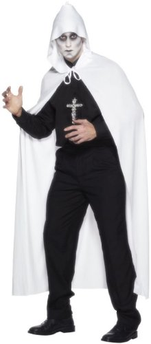 Smiffy's Adult Unisex Hooded Cape, White, Long, 75 inches, One Size, 24482 (All White Costume)