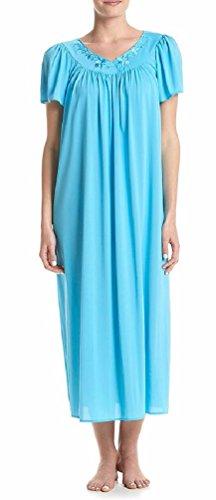 Miss Elaine Women's Tricot Long Flutter-Sleeve Nightgown, Blue Vine (Small)