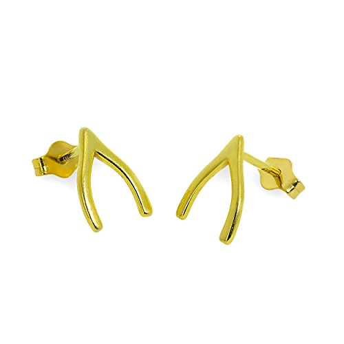 Gold Dipped Sterling Silver Wishbone Stud Earrings
