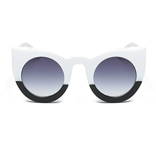 Armear Cat Eye Sunglasses Women Thick Frame Round Gradient Shades (Black and white,gray lens, - Black Gradient White