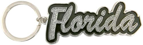 Florida Name Glitter Filled Metal Key Ring Chain