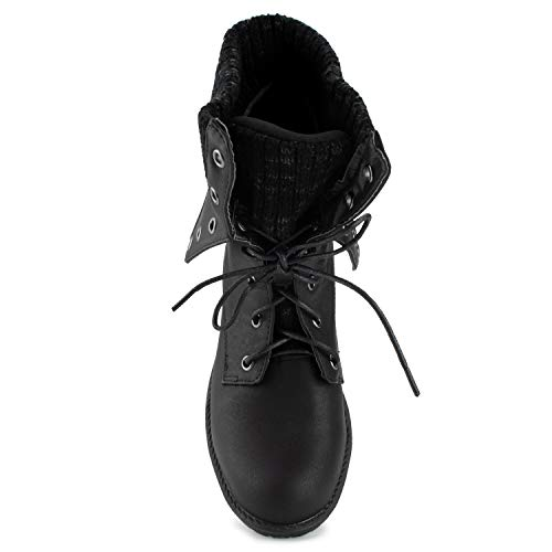 Folded Black Cuff Ankle FASHION Combat RF Up Boots OF Women's Pu ROOM Lace qnYHa4Z