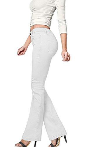 HyBrid & Company Women's Skinny Bootcut Stretch Pant-P31698BL-WHITE-9