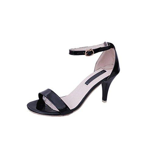 Fiesta Calzado Paolian Altas Chic Negras Zapatos Noche De Boda Mujer Otoño Vestir Tacón Negro Para Cuña Moda Aguja Dama Boca Trabajo Pescado Con Hebilla nn1xaqv