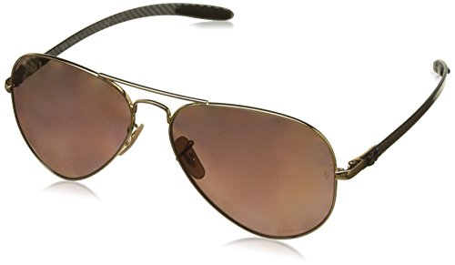 Ray-Ban Unisex RB8317CH Chromance Lens Aviator Sunglasses, Gold Frame/Purple Mirror Lens - Ray Ban Polarized Chromance