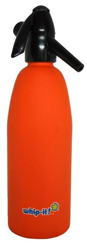 Whip-It 1-Liter Soda Siphon, Rubber Coated, Orange by Whip-it!