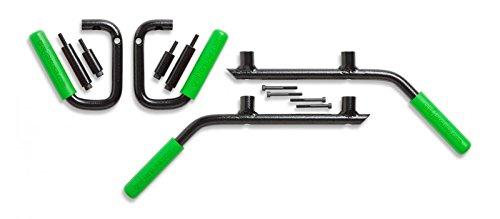 JK 4-Door Front & Back GraBars Set (Includes GREEN Rubber Grips) by GraBarsUSA