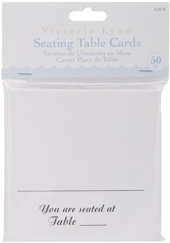 Darice VL2018 Seating Table Square Cards, 50 Per Pack, White