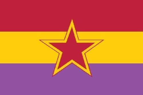 Flagmania® GRAPO - Bandera de la República Española (150 x 90 cm, 100% poliéster, Insignia de botón de 59 mm): Amazon.es: Jardín