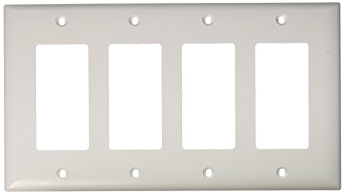 PASS & SEYMOUR TP264WCC10 4 Gang 4 Decorator Opening Nylon Wall Plate, White ()