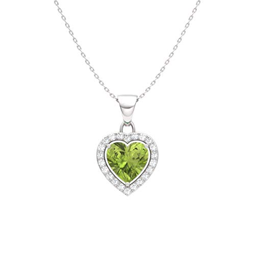 Diamondere Natural and Certified Peridot and Diamond Heart Petite Necklace in 14k White Gold | 0.51 Carat Pendant with - Diamond Necklace Peridot Gold