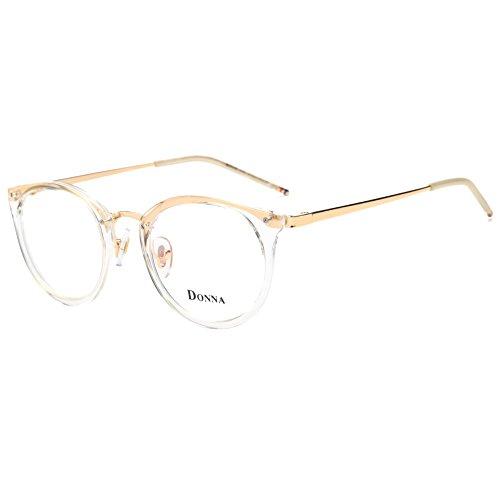 DONNA Stylish Clear Lens Glasses Samll Circle Frame Blue Light Blocking for Computer DN08(Transparent - Frame Big Gold