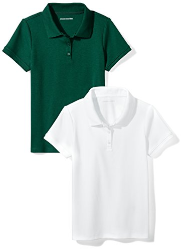 Amazon Essentials Big Girls' Uniform  Interlock Polo, Hunter Green/White, M (8)