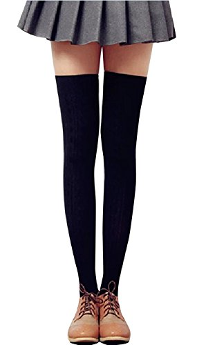 t Crochet Over Knee Socks Long Thigh High Stockings, Black (Knee High Lightweight Stockings)