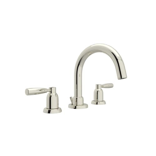Rohl U.3955LS-PN-2 Perrin & Rowe Transitional J Spout Widespread Lavatory Faucet with Metal Lever Handles, Polished Nickel by Rohl