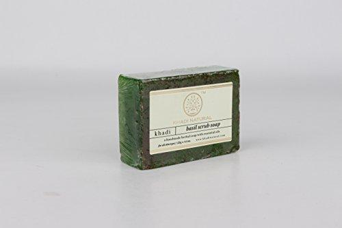 Khadi Natural Ayurvedic Herbal Handmade Basil Scrub Soap for Normal to Oily Skin (125 g) (Best Herbal Soap For Oily Skin In India)